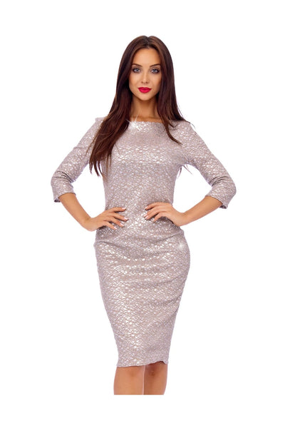 Giltter Lace Overlay Midi Dress in SIlver - Front View
