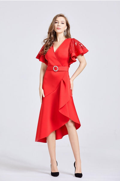 Sequin Sleeved Asymmetric Midi Belted Dress - Full Front View