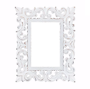 Hand carved White Wooden Frame