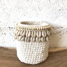 Load image into Gallery viewer, Crochet and and Shell Basket