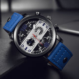 Leather Analog Quartz men watch