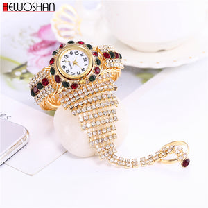 Clock Rhinestone Bracelet Watch