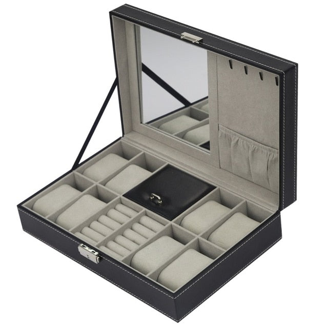 Grid  Leather Watch Display Box - Blg-19 The Complete Store for You