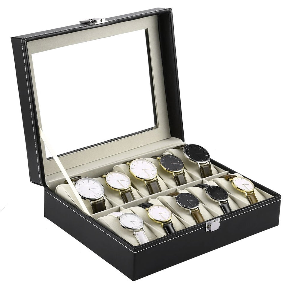 10 Slots High Quality Leather Wristwatch Display and Storage Box Holder - Blg-19 The Complete Store for You