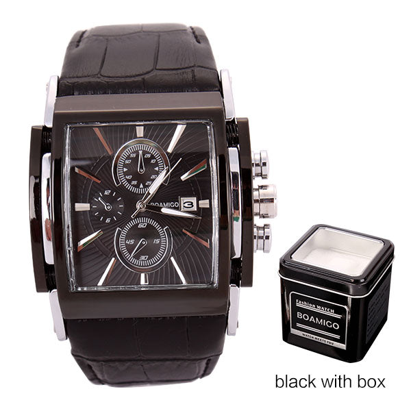 BOAMIGO Square Men Quartz Watches Big Dial Fashion Casual Sport Watch Rose Gold Water[roof Cock Leather Male Casual Wristwatches