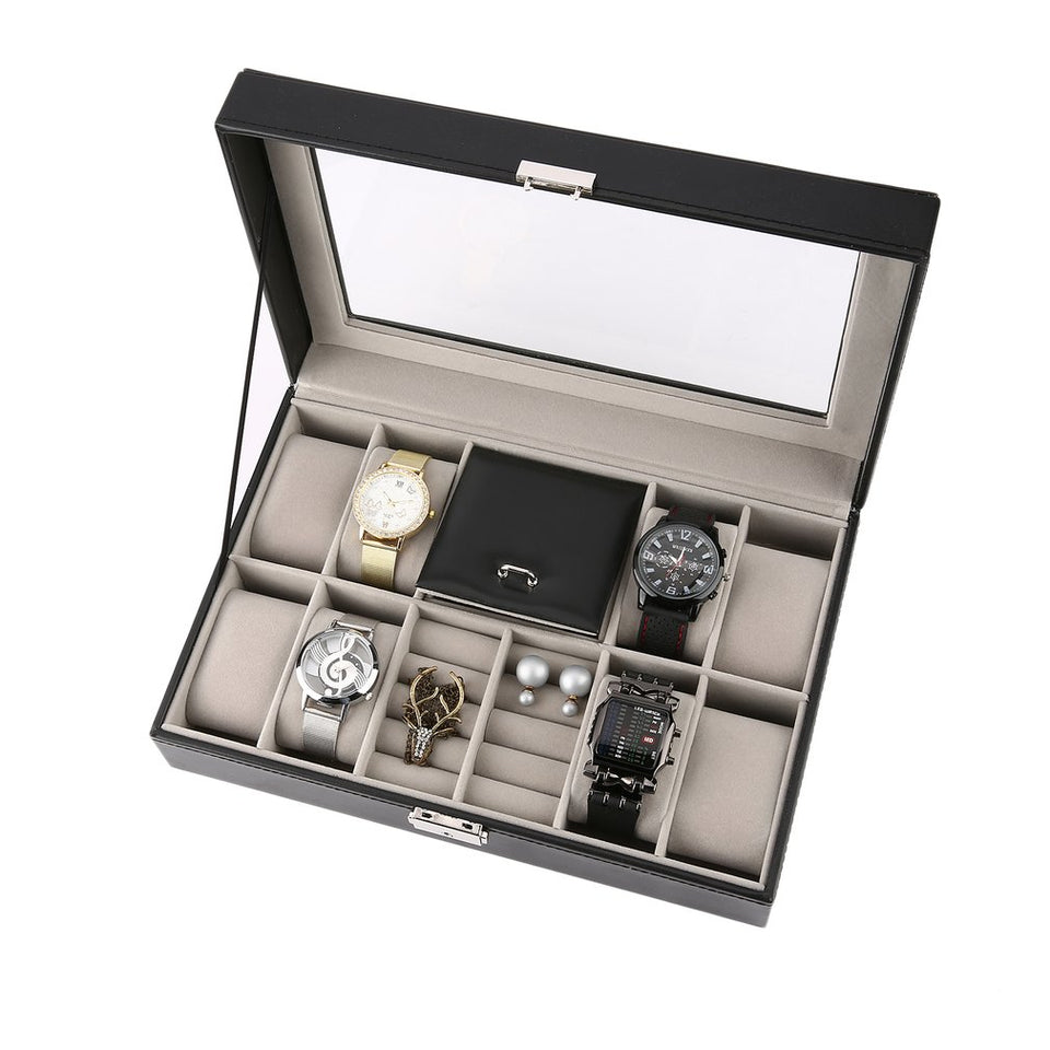 Mixed Grids Black Leather Watch Box - Blg-19 The Complete Store for You
