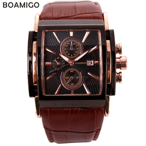 BOAMIGO Square Men Quartz Watches Big Dial Fashion Casual Sport Watch Rose Gold Water[roof Cock Leather Male Casual Wristwatches - Blg-19 The Complete Store for You