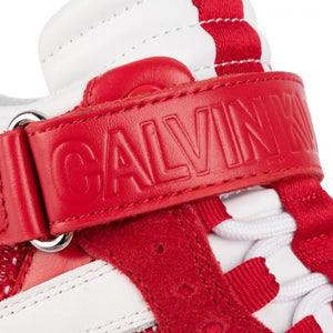 Calvin Klein Jeans Womens Missie White Red Trainers R0824-100 | Vilbury London