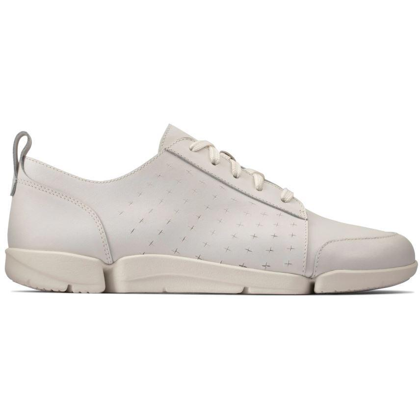 Clarks Womens White Triamelia Edge Flats 26150402 | Vilbury London