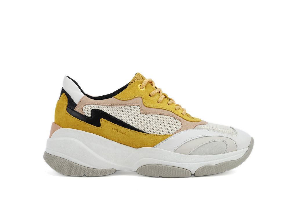 Geox Womens Yellow White D Kirya Trainers D92BPB02214C2M1Q | Vilbury London