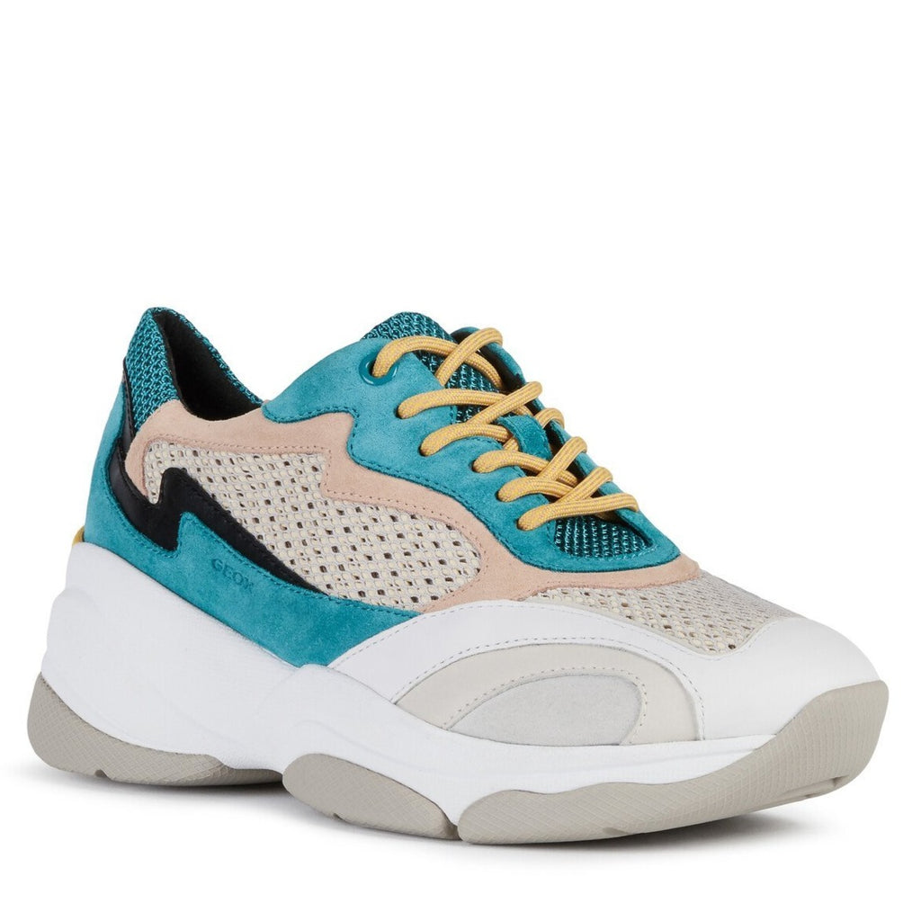 Geox Womens Blue Grey D Kirya Trainers D92BPB02214C4110 | Vilbury London