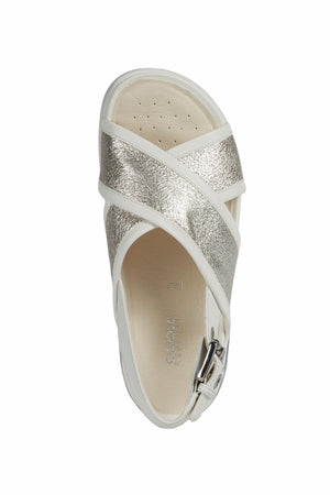 Geox Womens Silver White D Ottaya Sandals D92CMA0CFBCC0434 | Vilbury London
