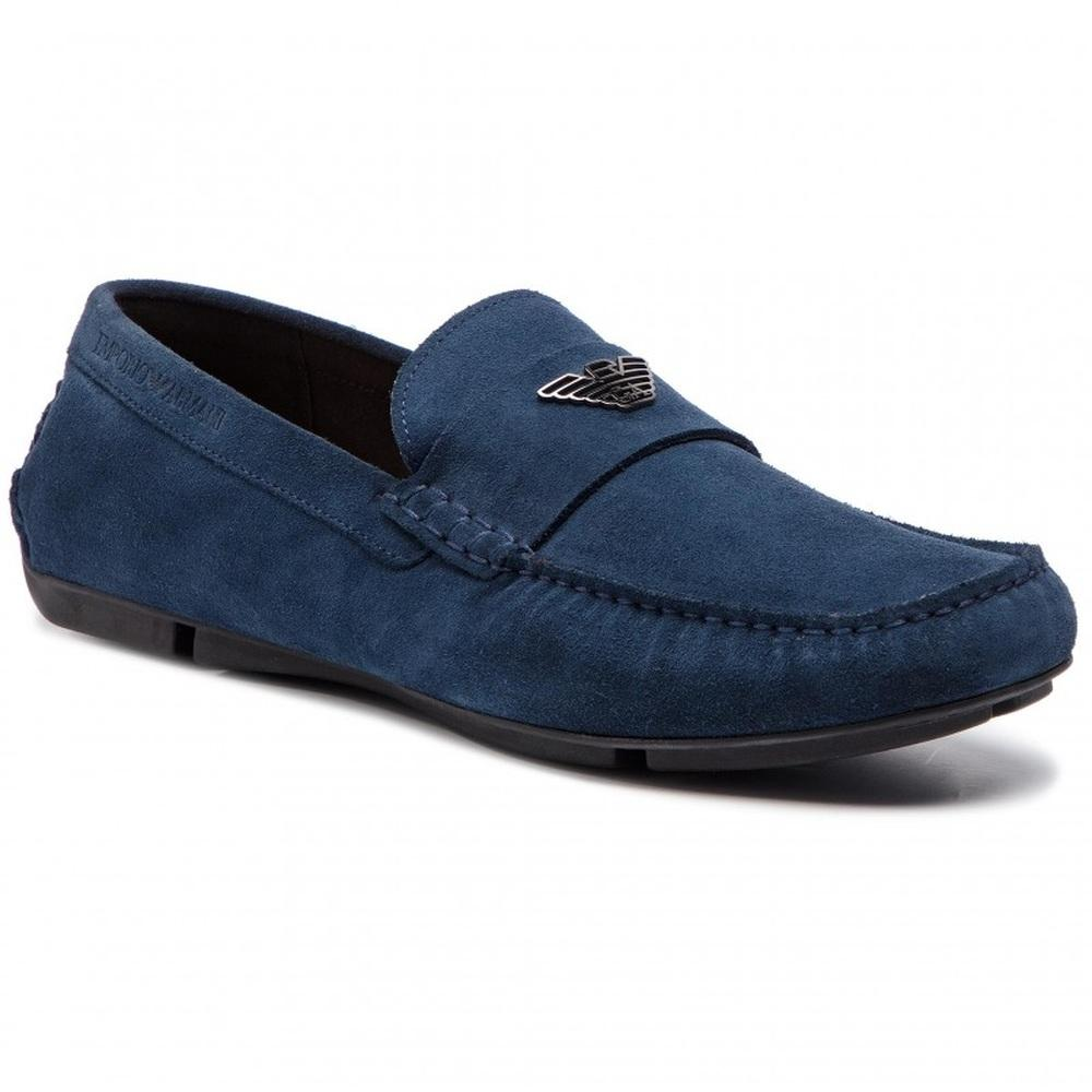 Emporio Armani Male Blue Driver Shoe Flats Midnight X4B124XF188 00054 | Vilbury London