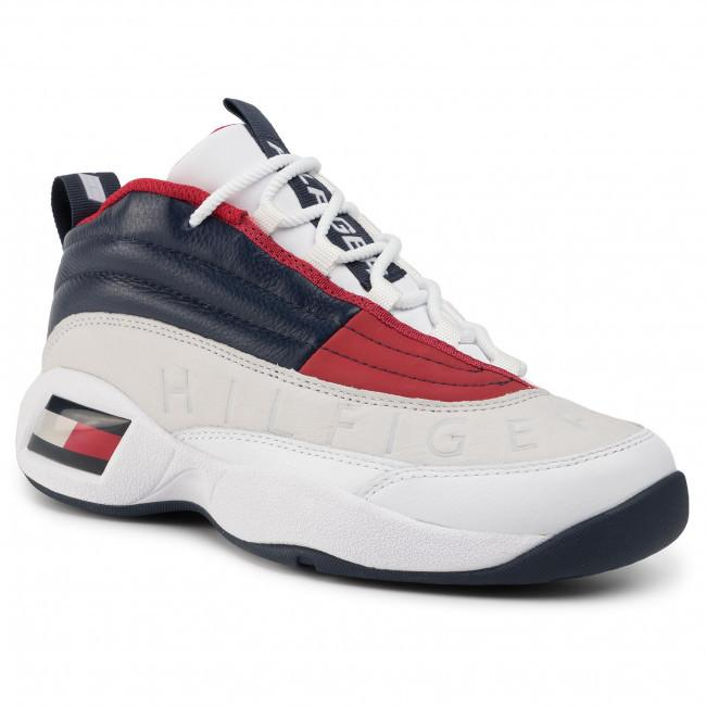Tommy Jeans Mens White The Skew Heritage Trainers EM0EM00375-0K5 | Vilbury London