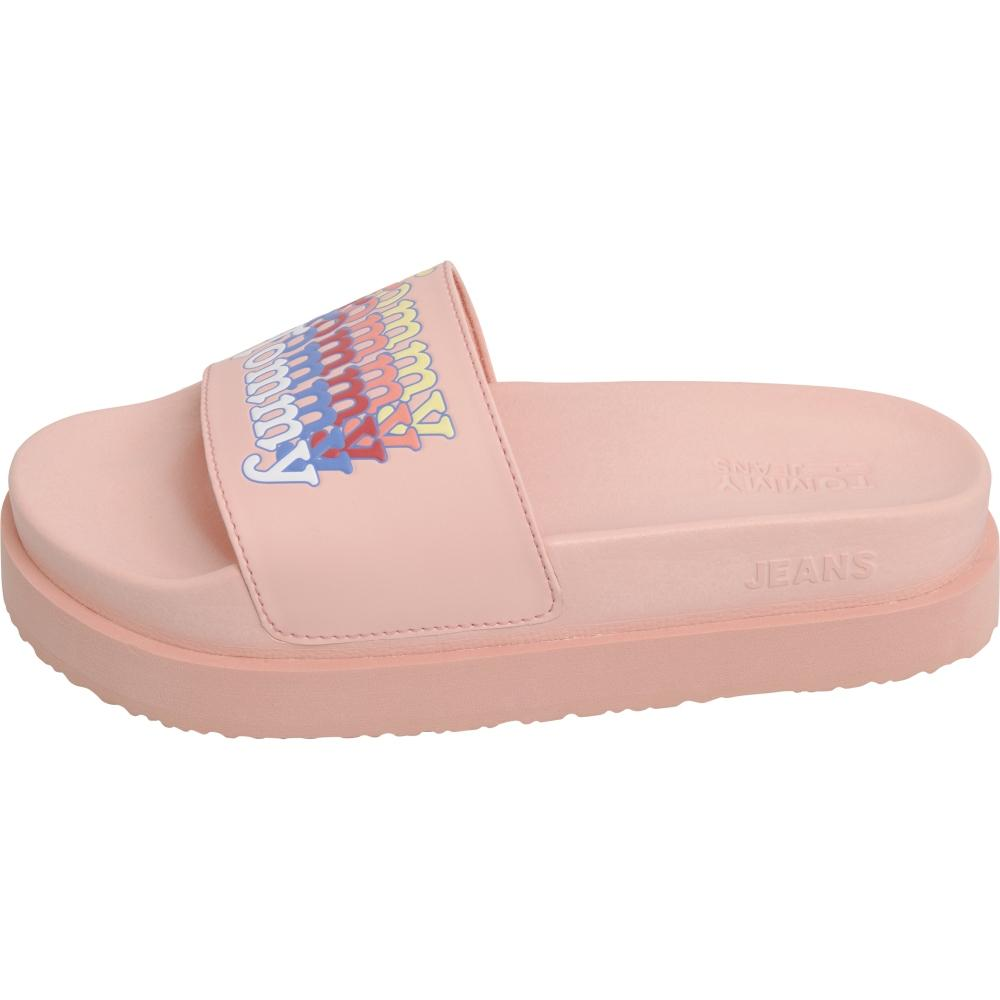 Tommy Jeans Female Pink Tommy Jeans Flatform Pool Slide EN0EN00920 TKE | Vilbury London