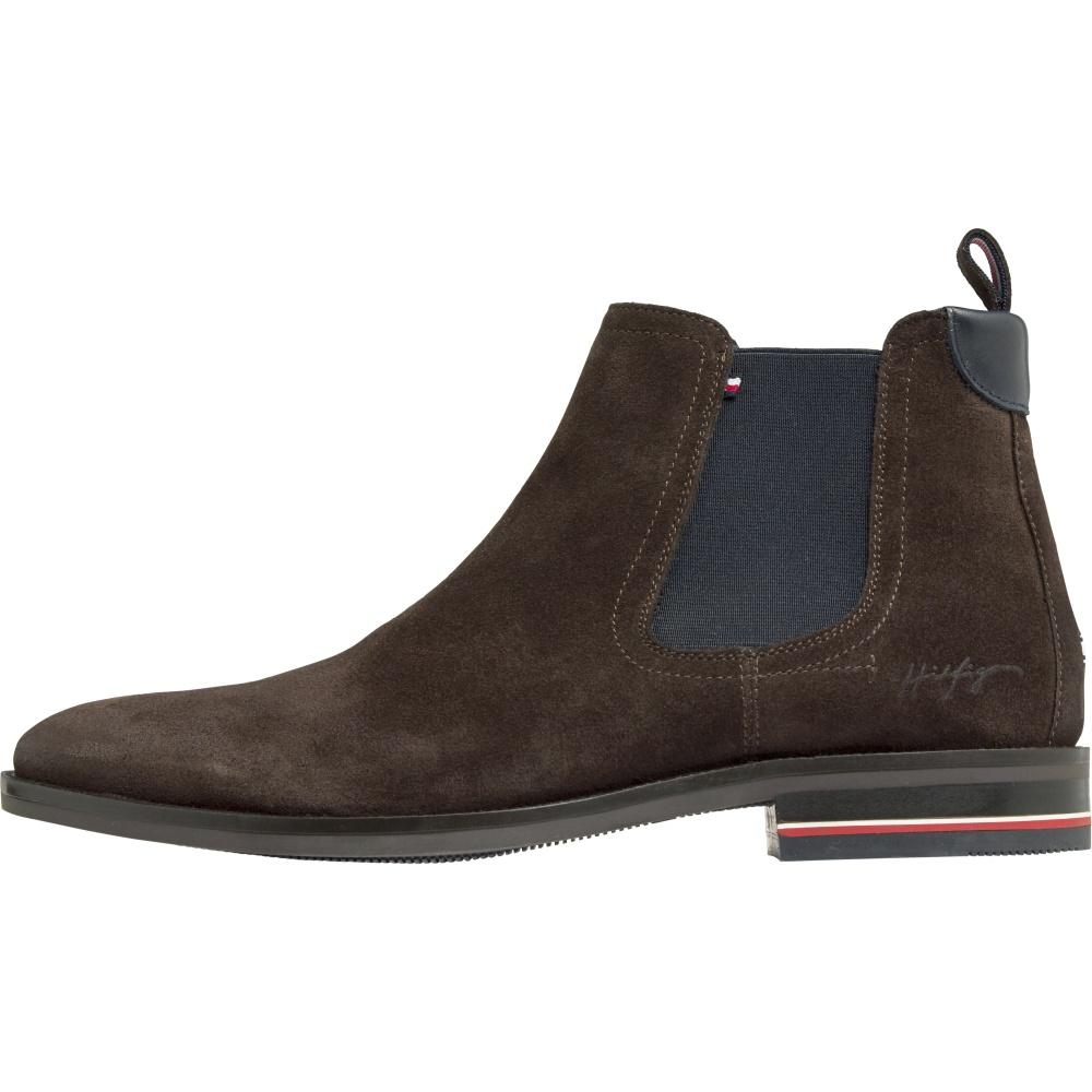 Tommy Hilfiger Male Brown Signature Hilfiger Suede Chelsea FM0FM03112 GT6 | Vilbury London