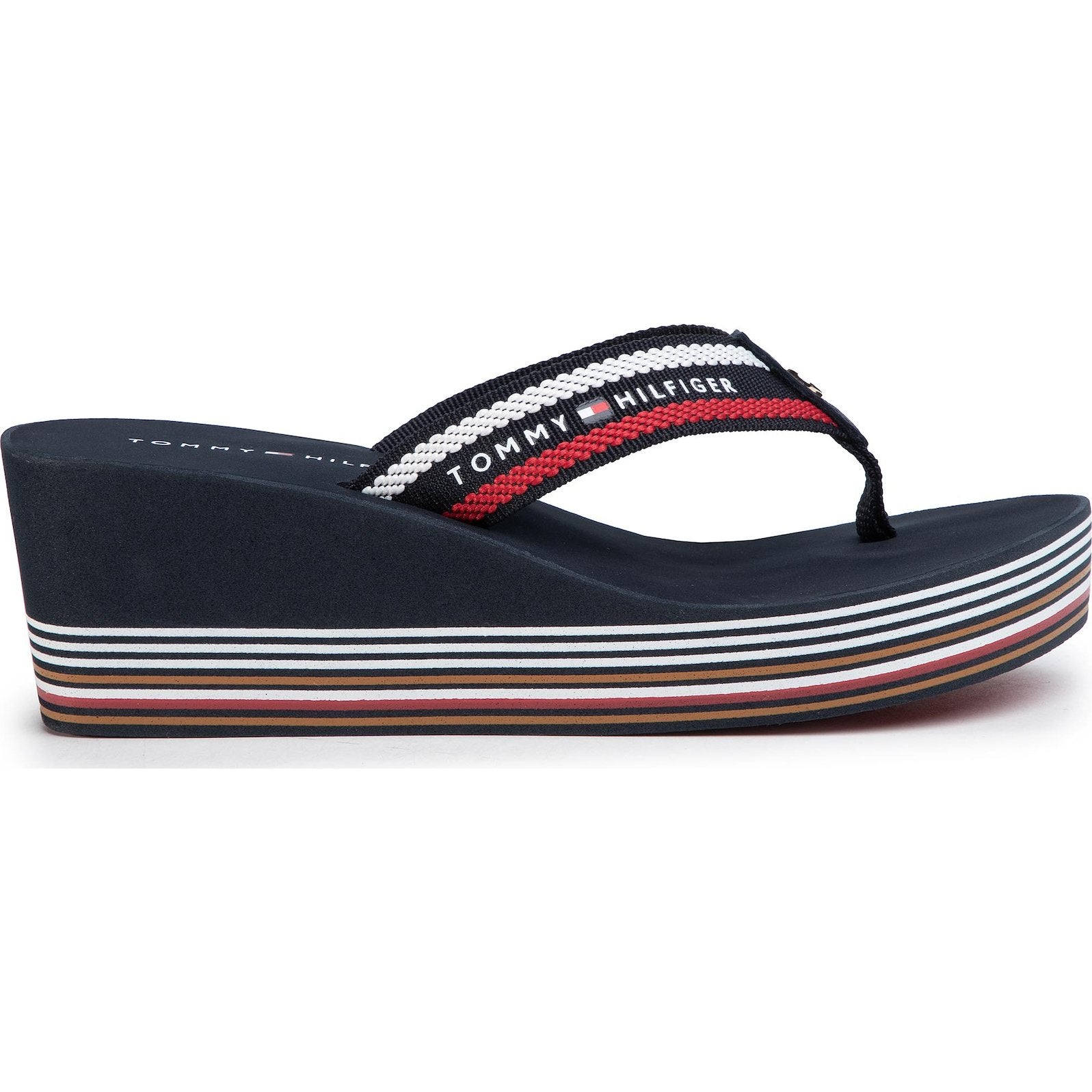 Tommy Hilfiger Womens Stripy Wedge Beach Flip Flops FW0FW04794-0KP | Vilbury London