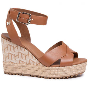 Tommy Hilfiger Womens TH Raffia High Wedge Sandals FW0FW04842-GU9 | Vilbury London