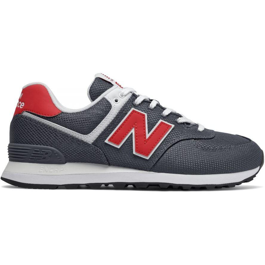 New Balance Mens 574 Grey Red Sneakers ML574SCJ | Vilbury London