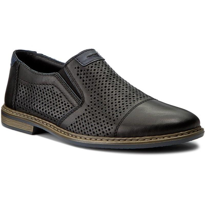 Rieker Mens Nero Navy Flats 13496-01 | Vilbury London