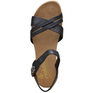 Rieker Womens Schwarz Black Sandals 60553-00 | Vilbury London