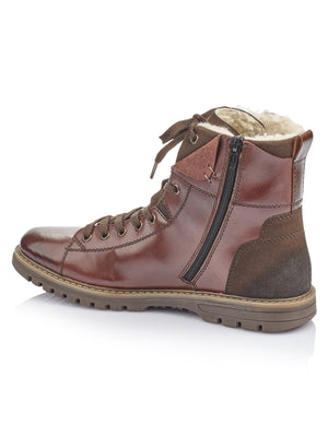 Rieker Mens Nobel Virage Ambor Brown Boots F3132-25 | Vilbury London