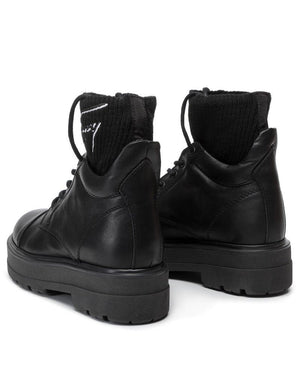 Tommy Jeans Womens Black Tommy Signature Flatform Boots EN0EN00678-990 | Vilbury London