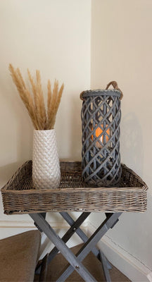 Grey Washed Wicker Tray Table