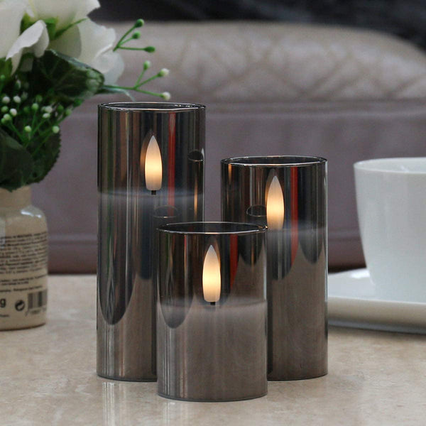 Smoked Grey LED Glass Candle Mini ( Set of 3)