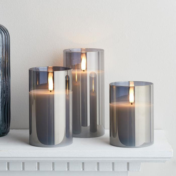 Set of 3 Large Grey Led Smoked Glass Candles