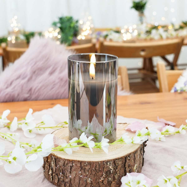 Grey Smoked Glass Medium LED Candle