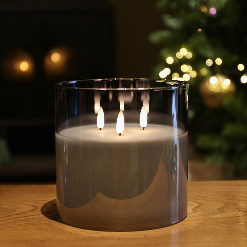 Grey Smoked Glass 3 Wick LED Candle