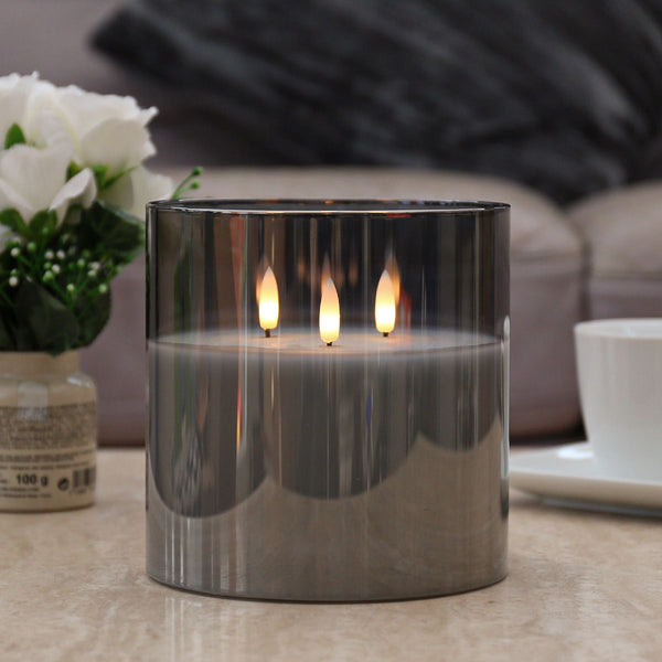 Large Grey Smoked Glass 3 Wick LED Candle