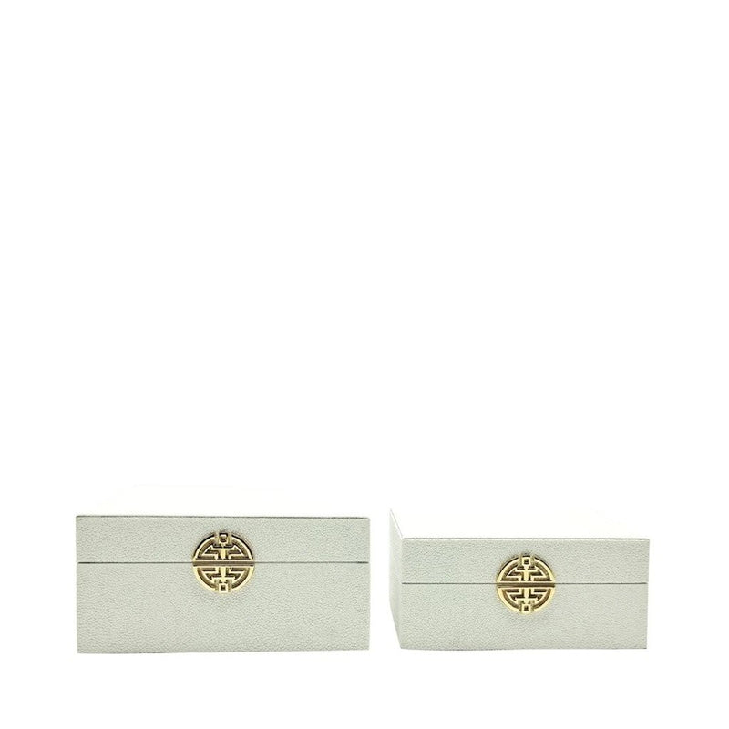 Set Of 2 White Faux Leather Decorative Boxes