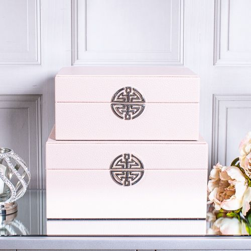 Set of 2 Pink Faux Leather Decorative Boxes