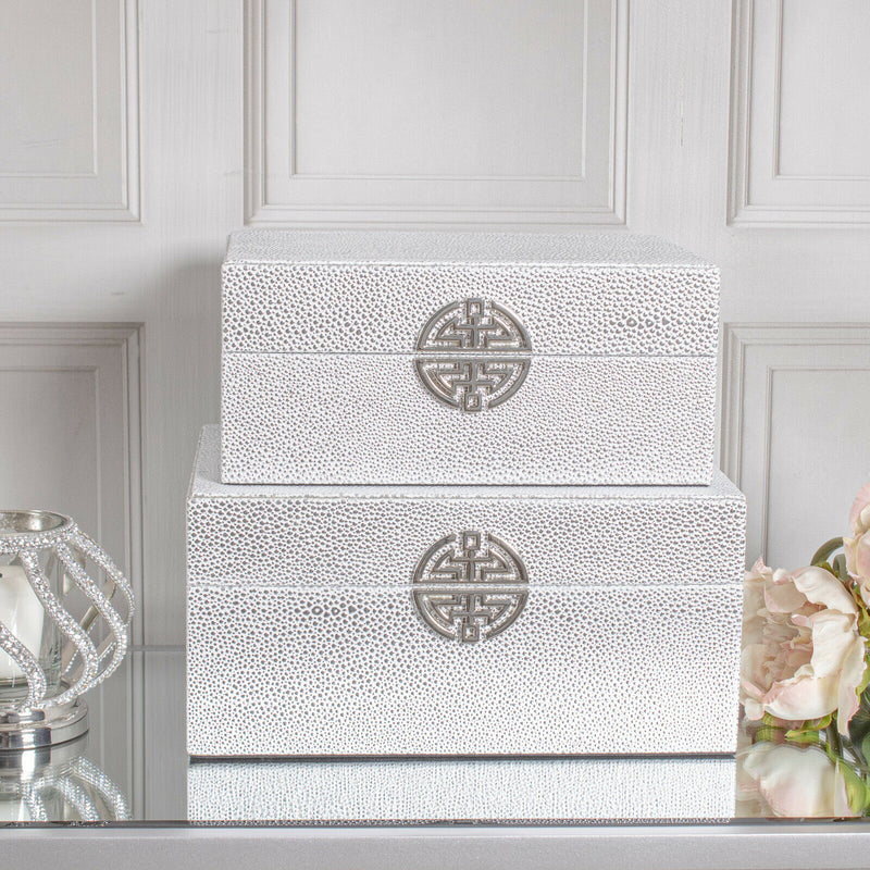 Set of 2 Silver Faux Leather Decorative Boxes