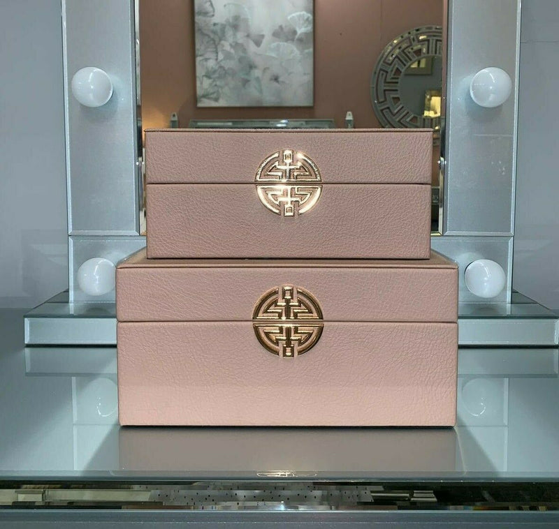 SET 2 FAUX LEATHER ROSE GOLD BOXES