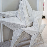 Set of 3 Grey Whitewashed Wooden Stars