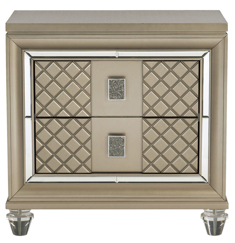 Homelegance Furniture Loudon 2 Drawer Nightstand in Champagne Metallic 1515-4