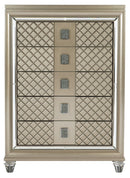 Homelegance Furniture Loudon 5 Drawer Chest in Champagne Metallic 1515-9