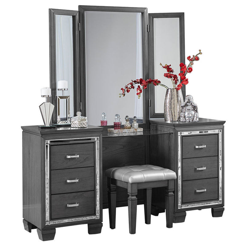 Homelegance Allura Vanity Dresser with Mirror in Gray 1916GY-15*