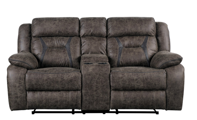Homelegance Furniture Madrona Double Reclining Loveseat in Dark Brown 9989DB-2
