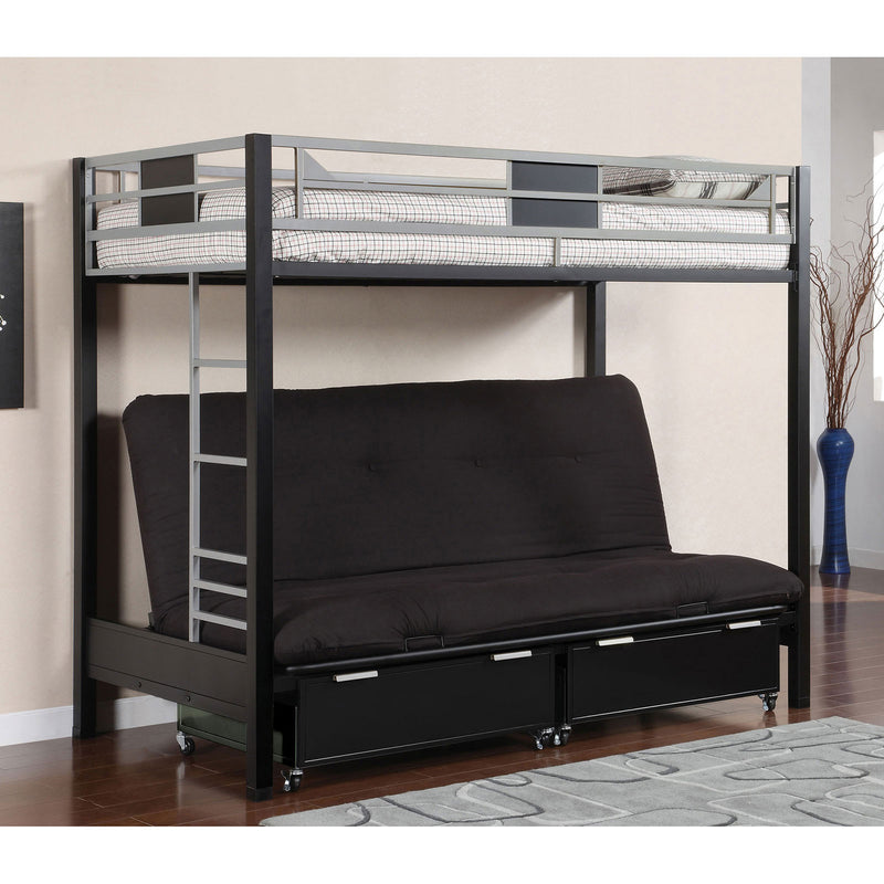 Clifton Silver/Gun Metal Twin Size Loft Bed w/ Futon Base image