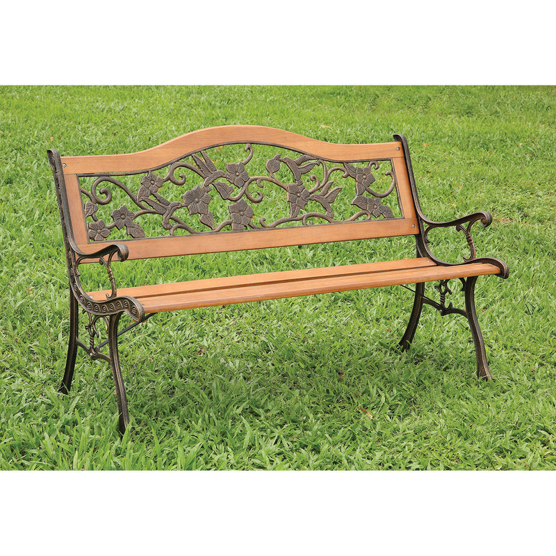 ALBA Antique Oak/Black Patio Wooden Bench image