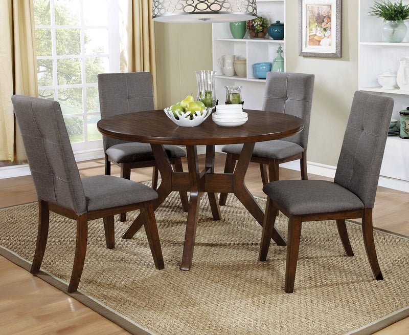 Abelone Walnut/Gray Round Table