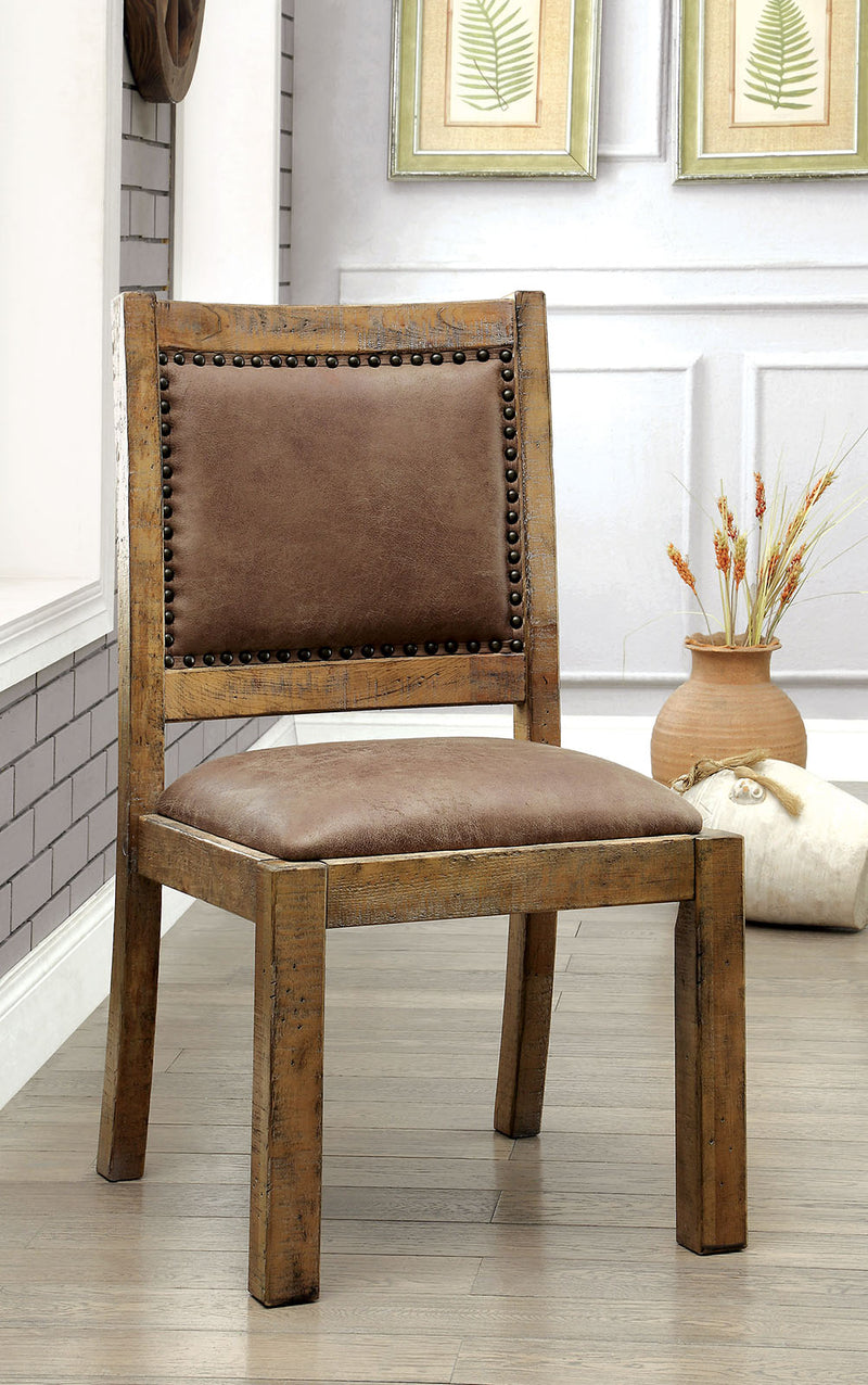 GIANNA Rustic Pine/Brown Side Chair (2/CTN)