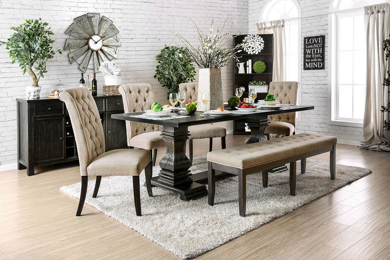 Nerissa Antique Black 6 Pc. Dining Table Set w/ Bench