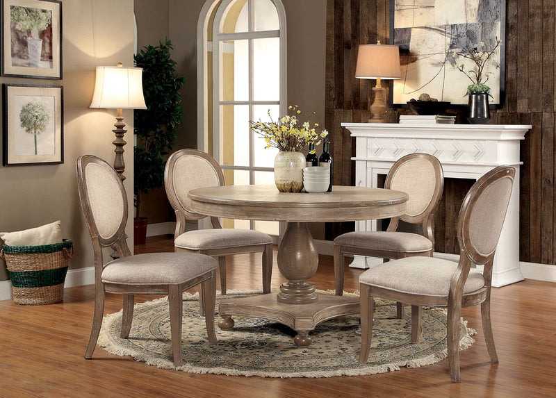 Kathryn Rustic Dark Oak, Ivory 7 Pc. Dining Table Set