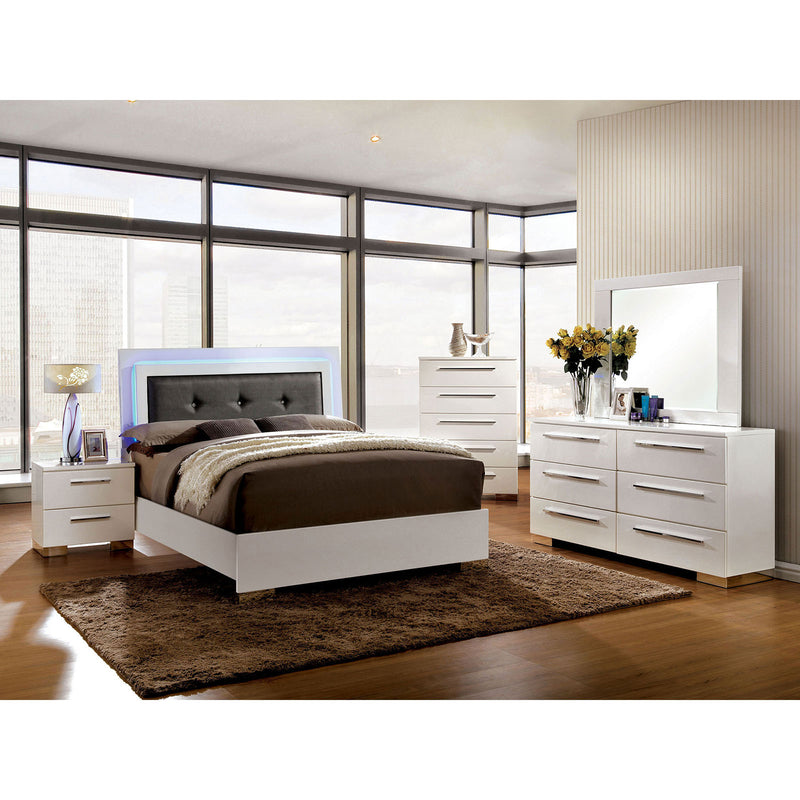 CLEMENTINE Glossy White 5 Pc. Queen Bedroom Set w/ 2NS image