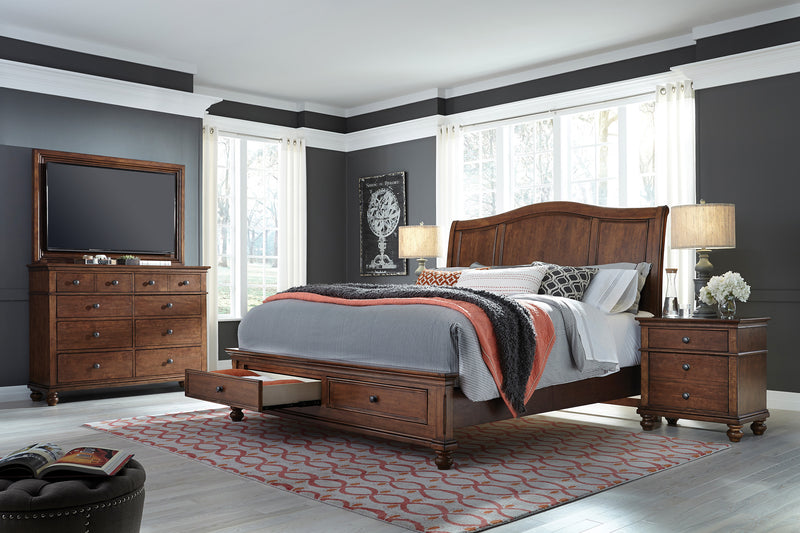 Cherry Oxford Sleigh Bed